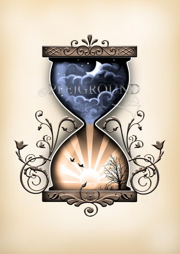 the night sky at the top and the sunshine at the bottom is actually a really cute concept.  I don't like the patterns in the top of bottom, or the simplicity of the hourglass itself though.