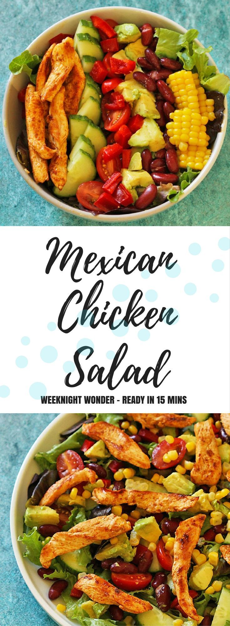 Lift your salad game with this delicious Mexican Chicken Salad.  Filled to the brim with delicious ingredients, including avocado, red kidney beans and corn.  One bite and you'll be hooked! #salad #mexican #healthyfood #healthyeating #healthyrecipes