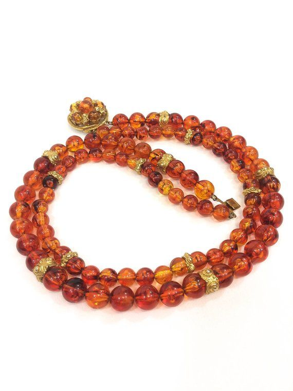 6f238f2d2 Double Strand Amber Necklace, Translucent Lucite Beads & Gold Repousse  Rondelles, Decorative Clasp Fall Colors, Vintage Fashion Jewelry