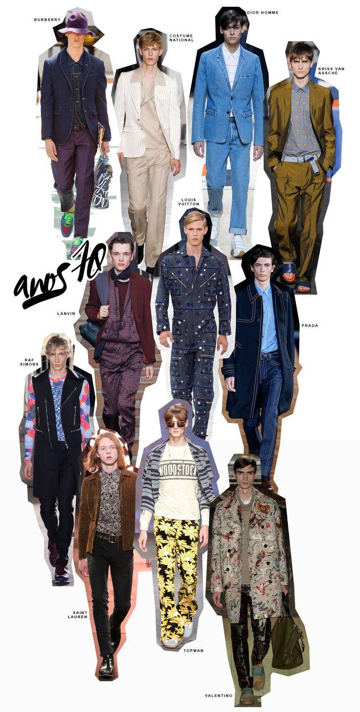 Inspiração de looks masculinos com pegada anos 1970.