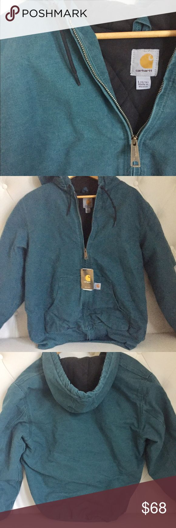Carhartt Coat Super warm,  teal Carhartt coat with hood. Never worn Carhartt Jackets & Coats