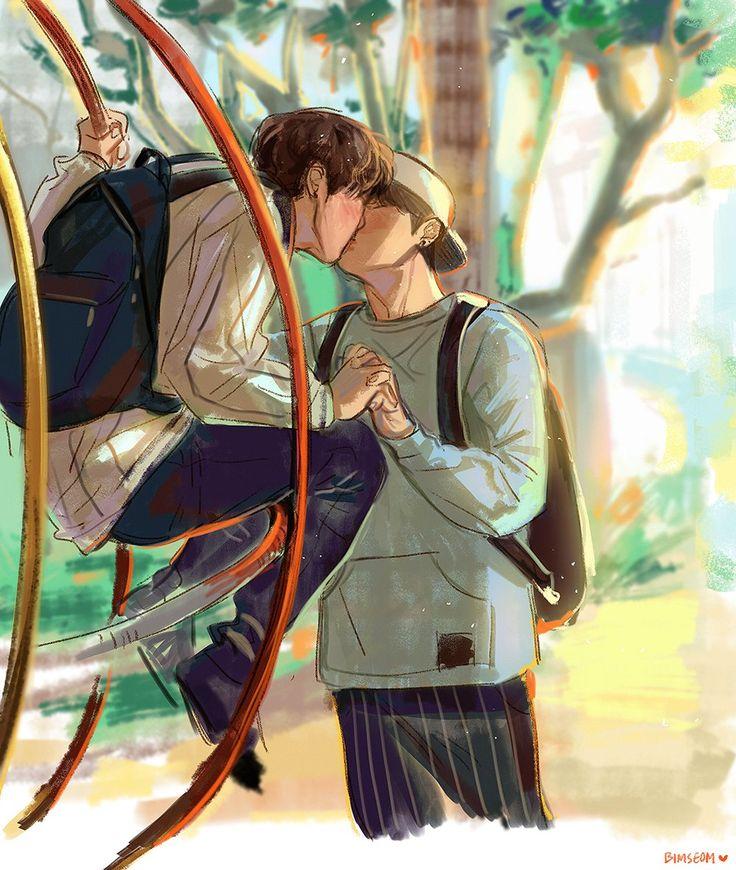 I was just supposed going to sleep when I found this. Two young boys kissing. Oh ! But isn't Jimin and JungKook?! God damn. Who's the genius who made this ?! I should sleeping, not contemplating your art !⭐️  J'étais supposée aller dormir quand j'ai trouvé ça. Deux jeunes garçons s'embrassant. Oh ! Mais en serait-ce pas Jimin et JungKook ? Mon dieu. Qui est le génie qui a fait ça ? Je devrais dormir, pas contempler ton art !⭐️