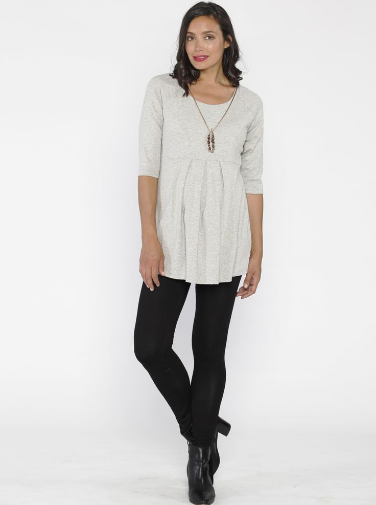 Half Sleeve Little Cotton Tunic Top in Grey, $49.95, is a maternity must-have! Team it black leggings for the ultimate in style and comfort. Also available in black and navy.