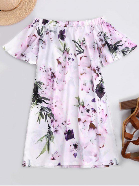 $13.49 Off The Shoulder Flower Vintage Dress - WHITE M
