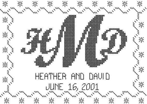 Cross Stitch Pattern Custom Monogram 5 x 7 size with Names and Wedding Date