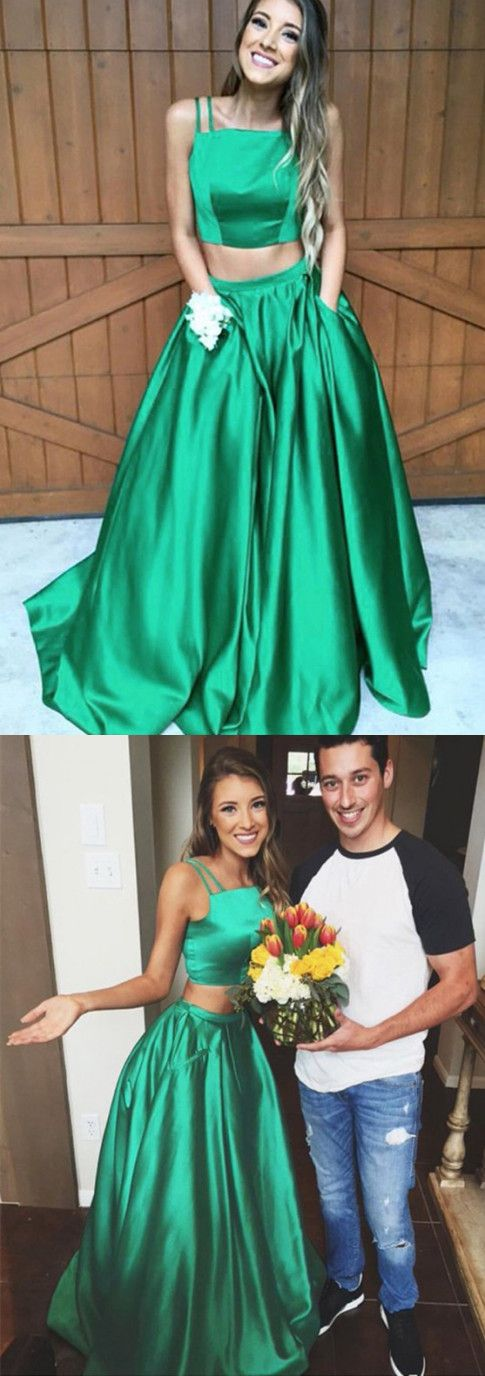 two piece prom dresses,simple prom dresses,cheap prom dresses,green prom dresses,2017 prom dresses @SevenProm