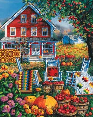 """One of quilt artist Diane Phalen's most colorful images. Item 242: 1000 piece jigsaw puzzle: Finished size 24"""" X 30"""""""