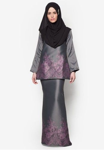 Baju Kurung Taffeta from SAWDAA BY MIZZ NINA in purple and grey_4                                                                                                                                                      More