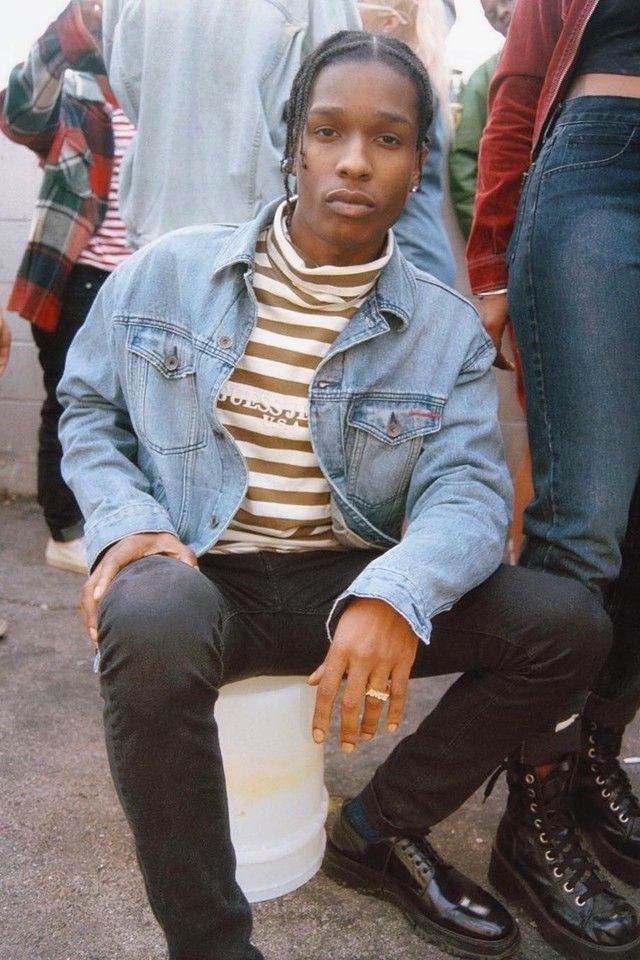 ASAP Rocky wearing  Guess x A$AP Mob Vintage Denim Jacket, Guess x A$AP Mob Striped Turtleneck, Dior Derby Contrast Sole