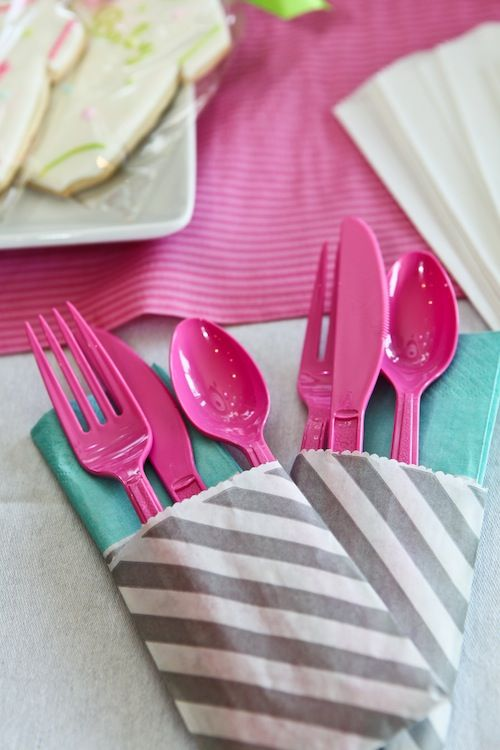 easy, grab-and-go utensil sets by taking mini favor bags and filling them with a napkin, fork, spoon and knife.