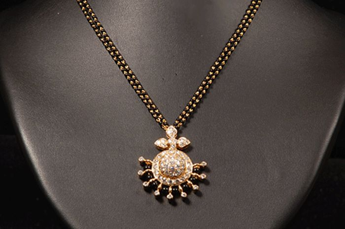 indian Diamond jewellery | Simple and cute diamond Mangalsutra designs from Vasundhara Jewellers ...