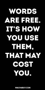 #inspiration #quote / WORDS ARE FREE. IT'S HOW YOU USE THEM, THAT MAY COST YOU.