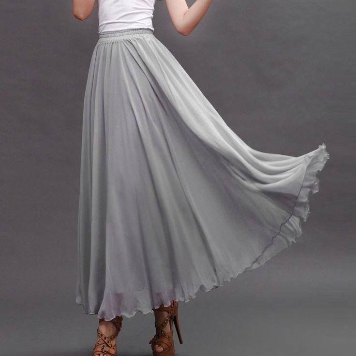 Light Gray Chiffon Maxi Skirt with Extra Wide Hem - Long Grey Chiffon Skirt - SK5a