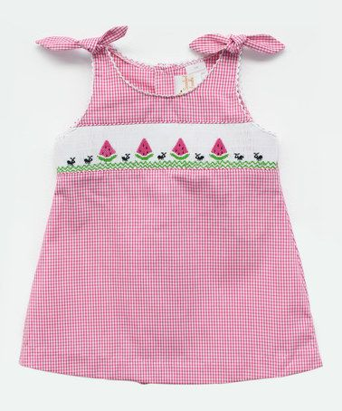 Look what I found on #zulily! Pink Watermelon Smocked A-Line Dress - Infant, Toddler & Girls #zulilyfinds
