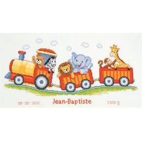 Animal Train Birth Record: Cross stitch (Vervaco, PN-0145025)