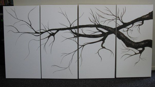 Acrylic, Watercolor, tree branches in the progress