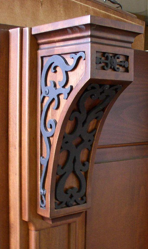 Aislinn Corbel. Wood corbel with inset iron by NealSmithDesign