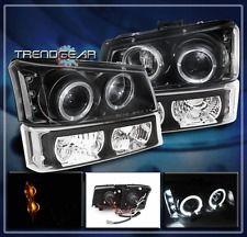 2003-2006 CHEVY SILVERADO HALO LED PROJECTOR HEAD LIGHTS+BUMPER BLACK 2004 2005