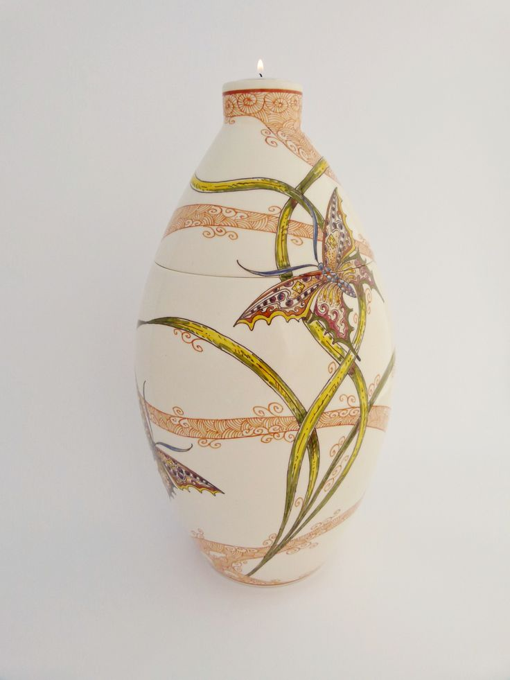Hand painted cremation urn - Butterfly - Phoenix Urns®
