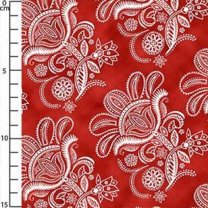 Tissu Paisley Floral - Dark Tomato x10cm
