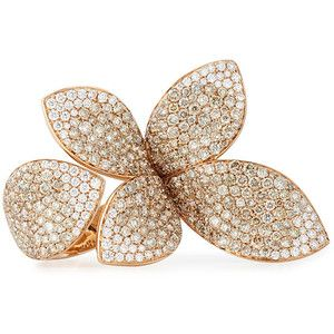 Pasquale Bruni Giardini Segreti 18k Rose Gold Diamond Leaf Ring
