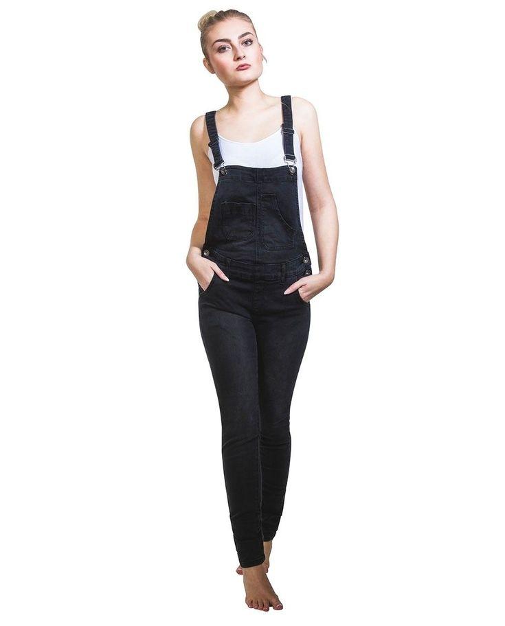 Black Denim Skinny Fit Bib-Overalls Ladies Dungarees Narrow Leg