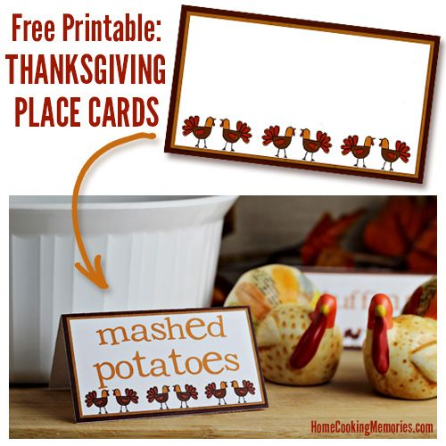 Free printables for your holiday table: Thanksgiving place cards. Add names for assigned seating, or use for labeling Thanksgiving dishes on a buffet table.
