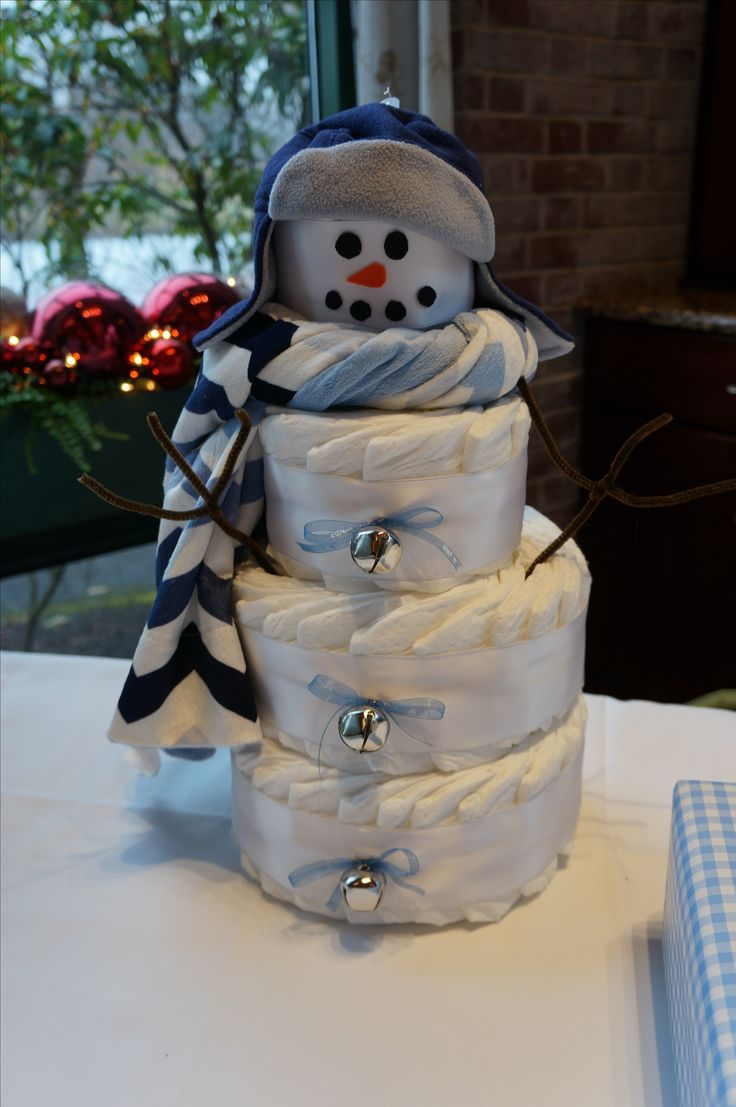 Snowman diaper cake for an Oh Baby It's Cold Outside Shower