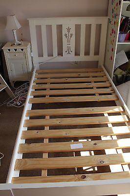 KING SINGLE BED white timber frame
