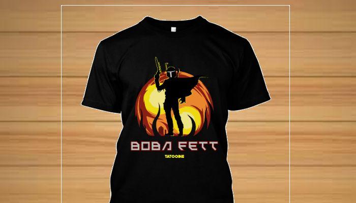 Camiseta do icônico caçador de recompensas de Star Wars, Boba Fett, o mandaloriano.