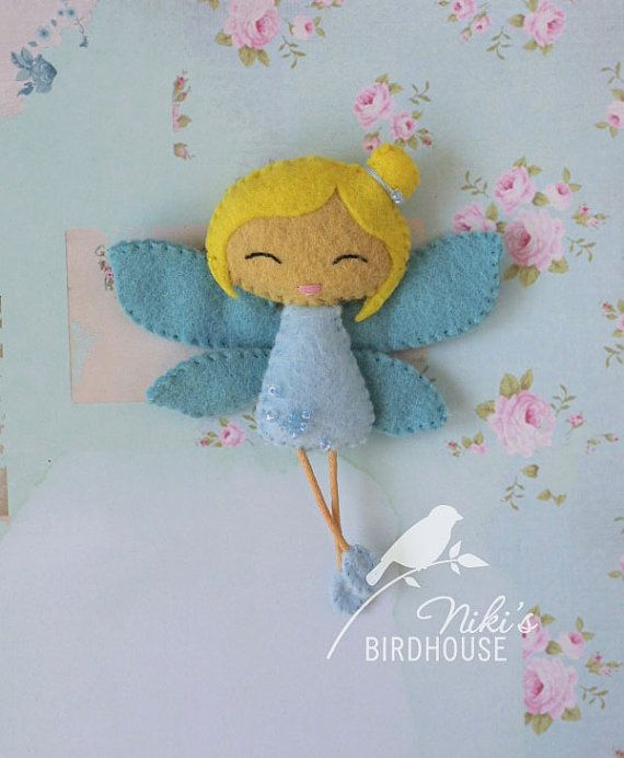 Blue fairy with blond hair felt doll nursery by NikisBirdhouse, $11.50