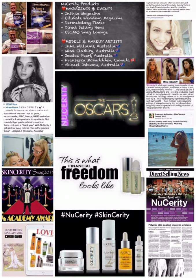 """What other MLM business has such strength in their industry? """"NuCerity"""" is constantly growing & growing!! Used by models & TV makeup artists all over... Promoted in magazines... At the Oscars... What more could you want from a business opportunity!!"""