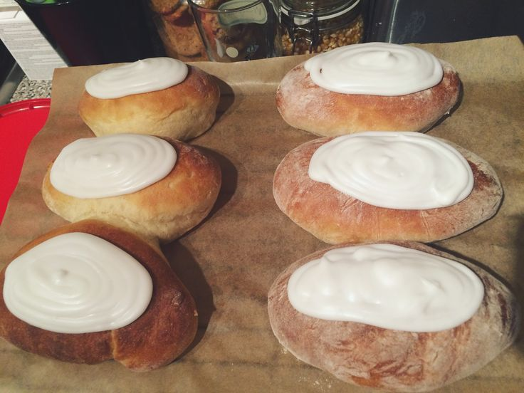 Delicious iced buns from a very successful baking day! First time try with a Paul Hollywood bread recipe and they were perfect!