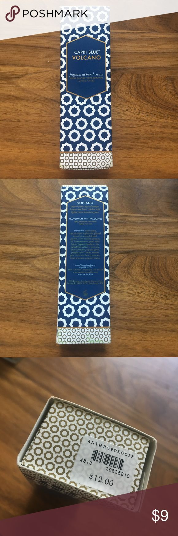 """Anthropologie, Capri Blue VOLCANO hand cream, NIB The volcano hand cream fragrance says it is """"tropical fruit, sugared oranges, lemons, and limes, redolent with lightly exotic mountain greens.""""  It is a 1.25 oz tube.          It has never been opened and is still in the box with the tags. I did just notice there is a small tear in the inner box (see pic).  Comes from a clean, mom-smoking home. Anthropologie Makeup"""