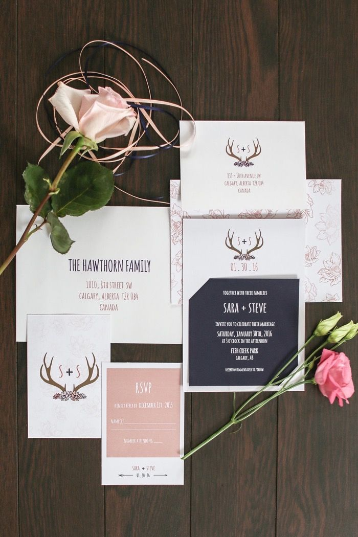 Rustic romantic winter wedding stationery - Rose Quartz & Navy Winter Wedding Styled Session Nicole Field Photography - Calgary Bride