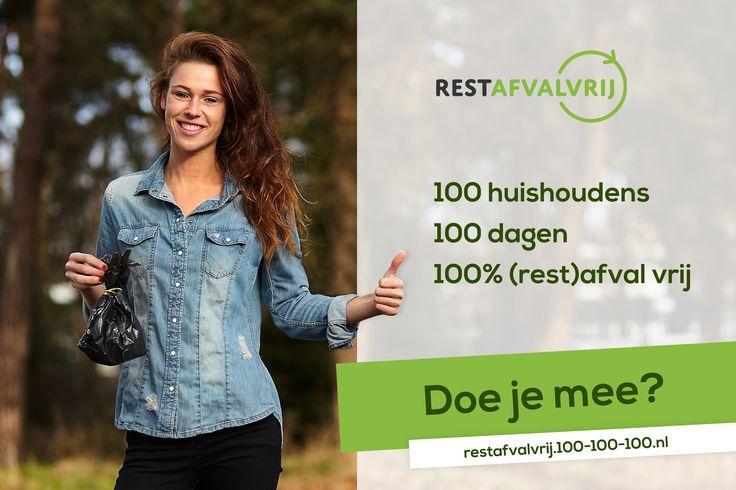 (Rest)afvalvrij leven moeilijk? Ga de uitdaging aan met 100 anderen! Meld je voor 1 februari aan via het platform: http://restafvalvrij.100-100-100.nl en doe mee!