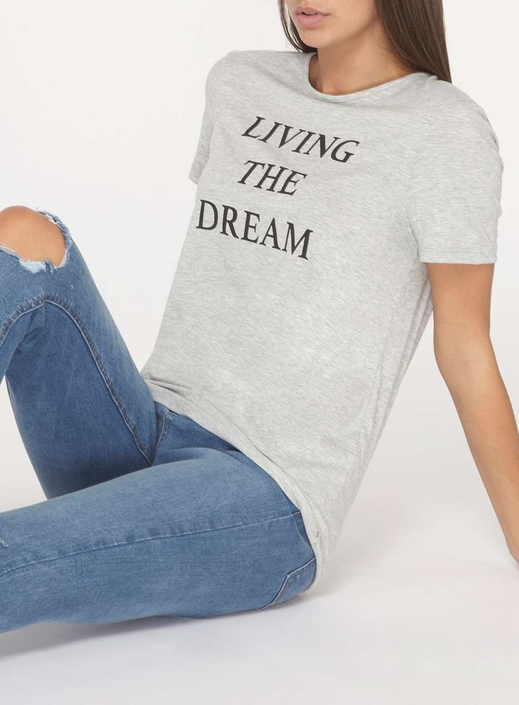 Womens **Tall Grey 'Living The Dream' Motif T-Shirt- Grey