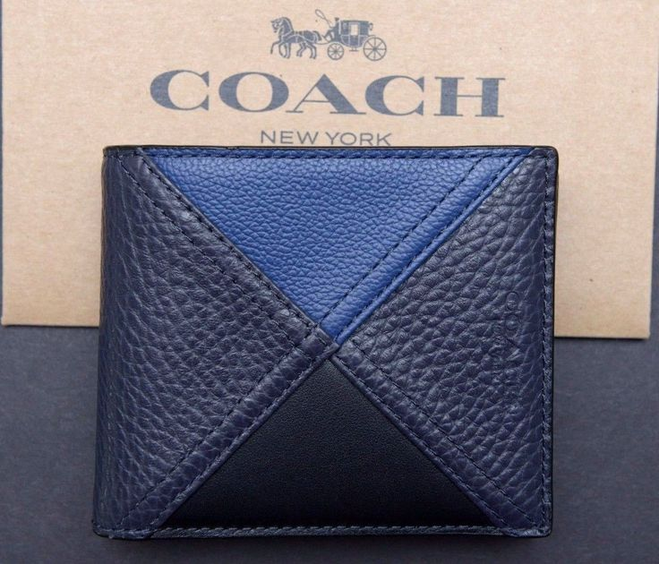NWT Coach Mens $195 Indigo 3IN1 Patchwork Leather ID Case Billfold Wallet F56599