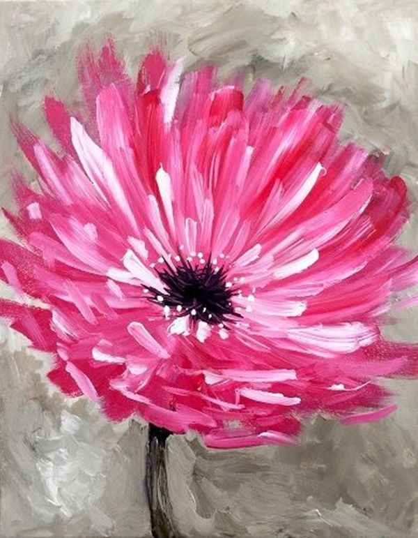 Beautiful Oil Painting Ideas For Beginners Pink Flower Painting