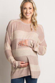 7cd42cd646ddf Charcoal Striped Cold Shoulder Knit Maternity Top