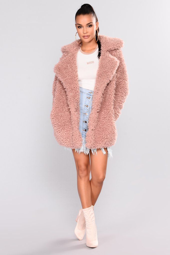 Snow Bunny Fuzzy Coat - Dusty Pink