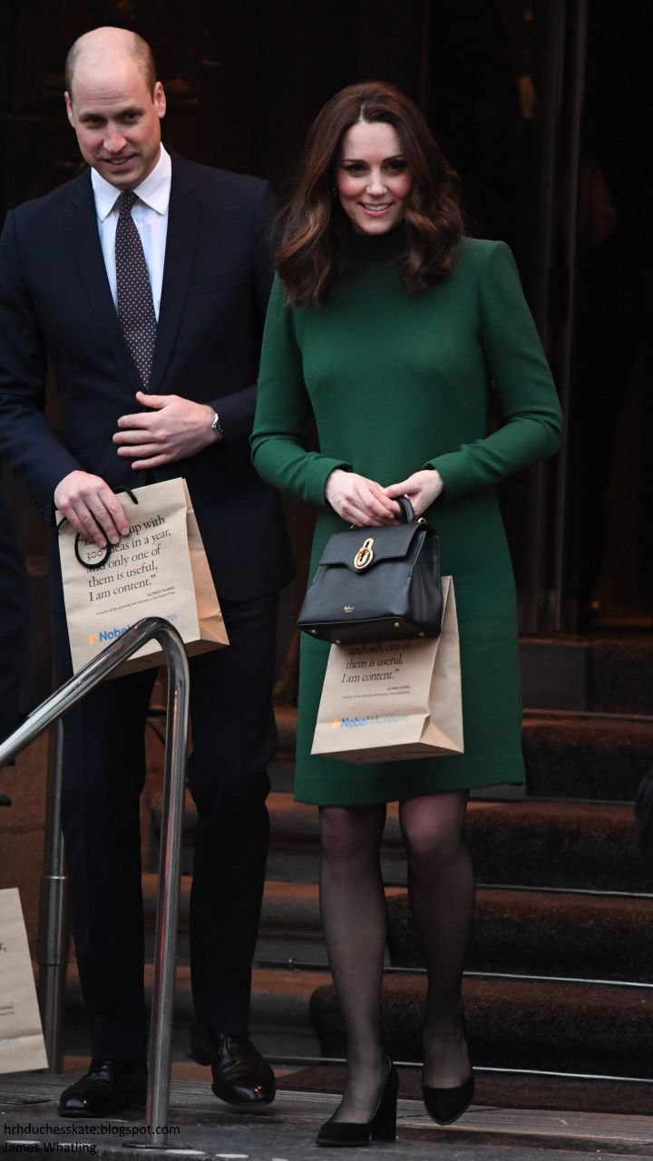 hrhduchesskate: Visit to Sweden, January 30-31, 2018-Duke and Duchess of Cambridge as they left the Nobel Museum