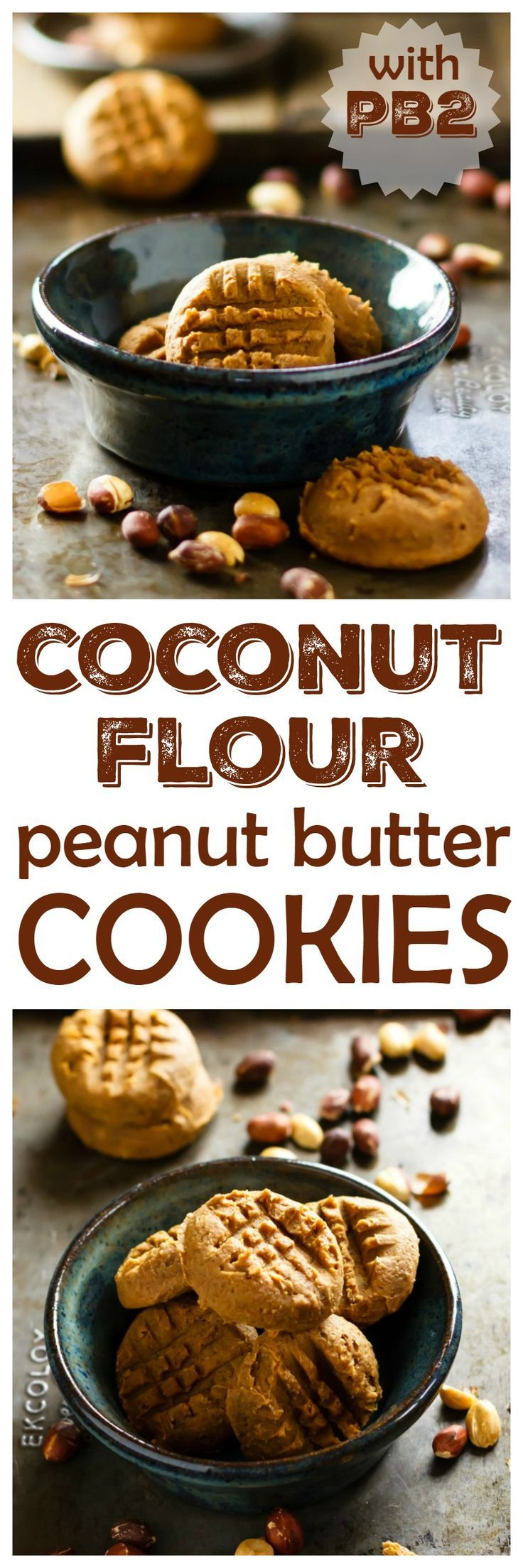 If you love coconut and peanut butter, my coconut flour peanut butter cookies are for you! I use PB2 for bold peanut butter taste with a lot less fat and calories. Vegan and gluten free! | eathealthyeathappy.com