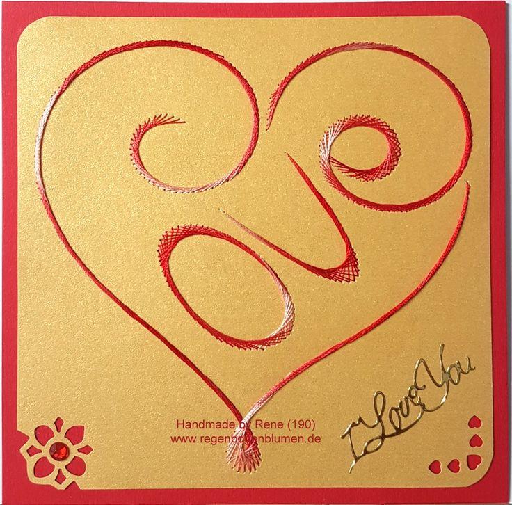 Grußkarten-Set 190 - Motiv: Herzen 23 LOVE - Copyright Motiv: glittermotifs.nl - Doppelkarte mit Umschlag 13,5 x 13,5 cm