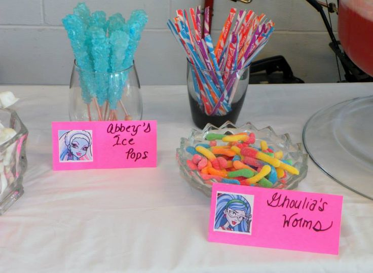 Monster High Party Snacks: Used cotton candy rock candy for Abbey and gummy worms for Ghoulia.