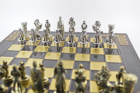 Medieval Chess Set 38X38cm/Bronze chess board by CraftsAndMetal