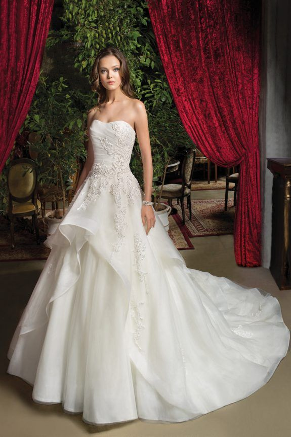 6e4bcf9616c Cosmobella - Wedding Dress - 7938 Beaded lace motifs adorn this Tulle