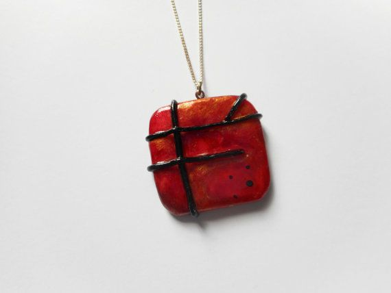 Red and Black Pendant  Large  Polymer Clay by SophieCarlon on Etsy