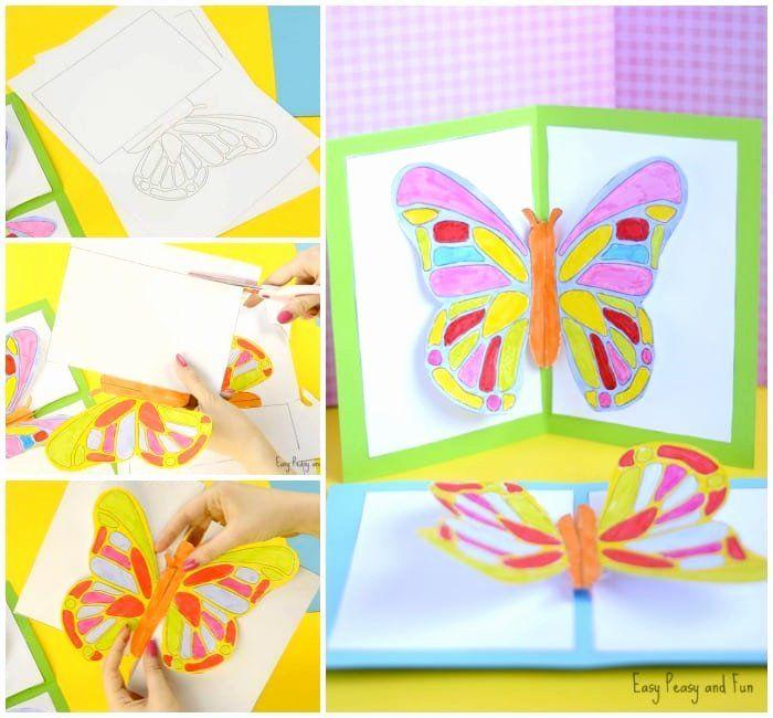 Pop Up Card Template Lovely Diy Butterfly Pop Up Card With A Template Easy Peasy And Fun In 2020 Pop Up Card Templates Butterfly Cards Paper Butterfly Crafts