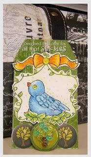 Sweety Tweety card, Blue Stickles